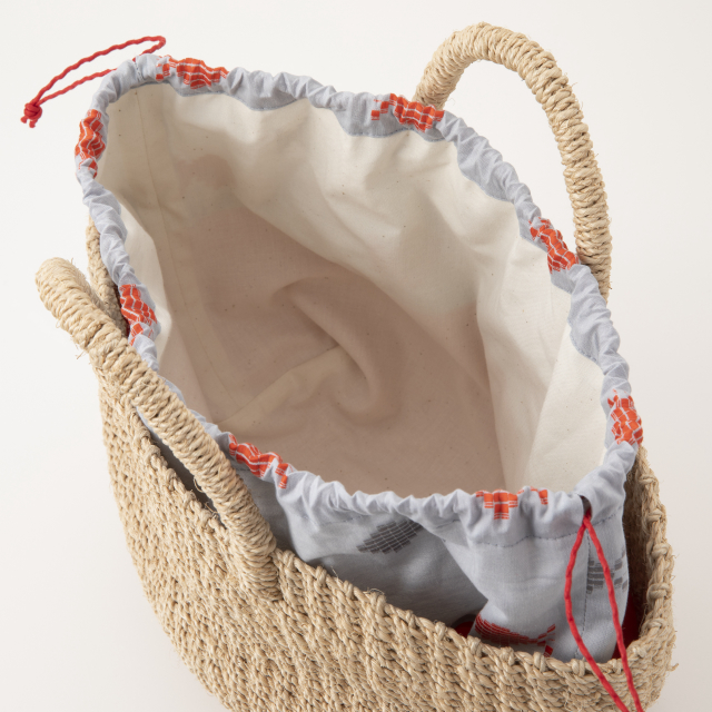 アバカ籠バッグ ドビー織の金魚