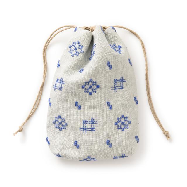 巾着 絣刺繍