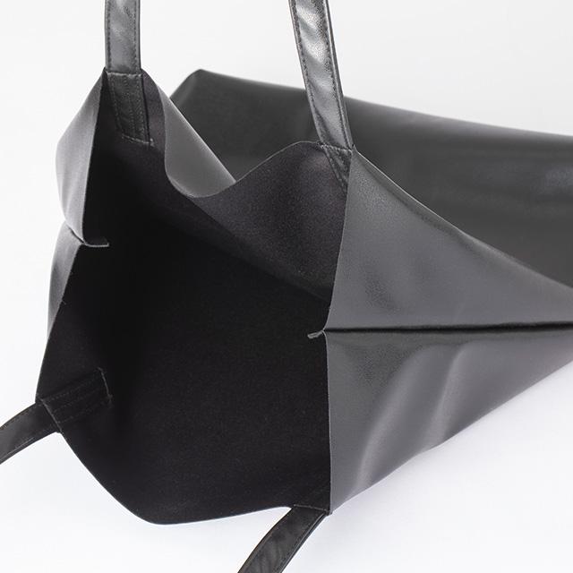 合皮で作ったエコバッグ 黒 小【夏セール2020】