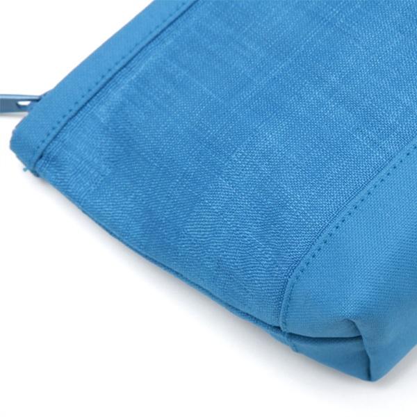 手織り麻と帆布のポーチ