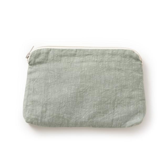綿麻生地のファスナーポーチ