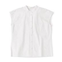 フレンチ袖のバンドカラーシャツ