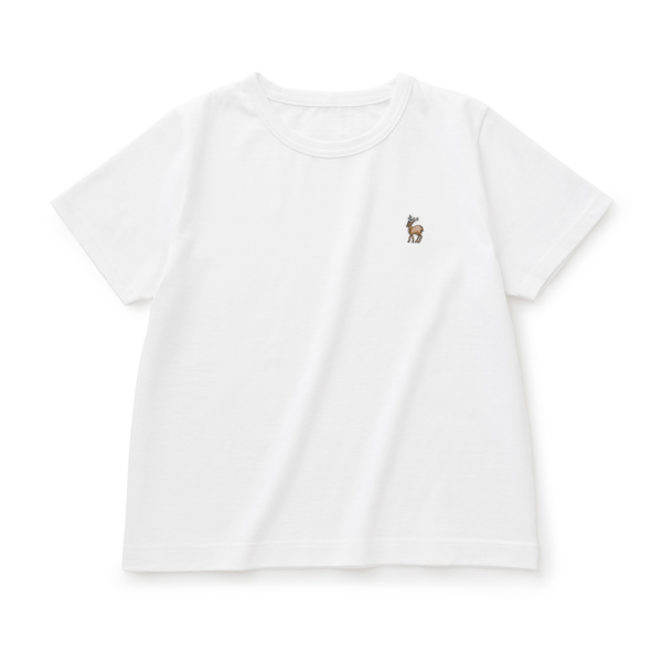 鹿の刺繍Tシャツ レディース
