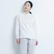 手織り麻を使ったフリルシャツ
