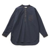 手織り麻を使ったロングシャツ