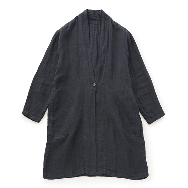 麻ガーゼのコート紺