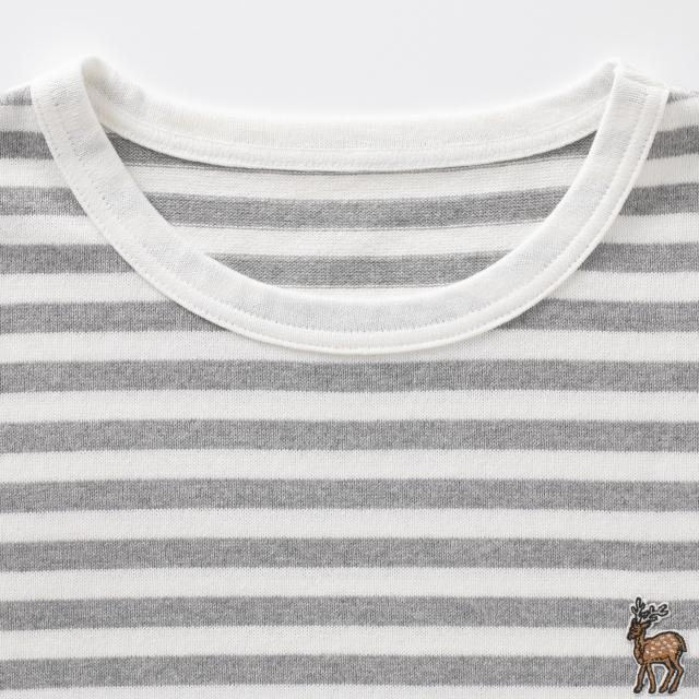 鹿の刺繍ボーダーTシャツ メンズ