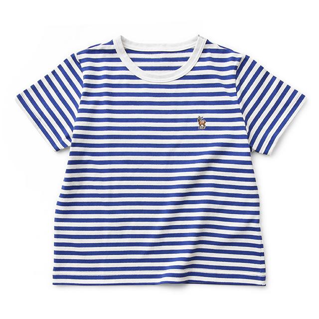 鹿の刺繍ボーダーTシャツ レディース