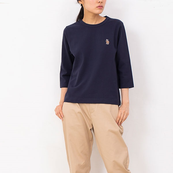 鹿の刺繍Tシャツ 七分袖 レディース