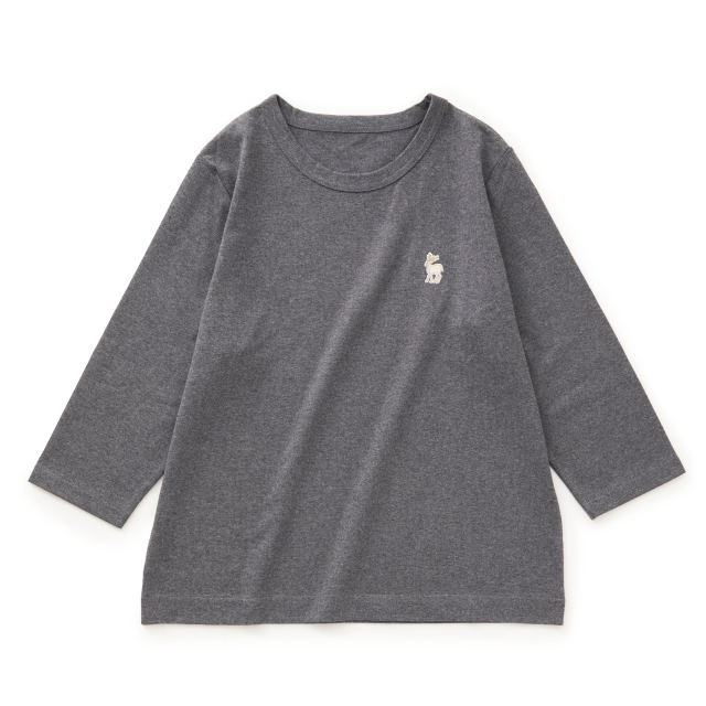 白鹿の刺繍Tシャツ 七分袖レディース