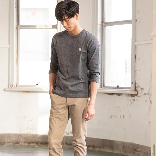 白鹿の刺繍Tシャツ 七分袖 メンズ
