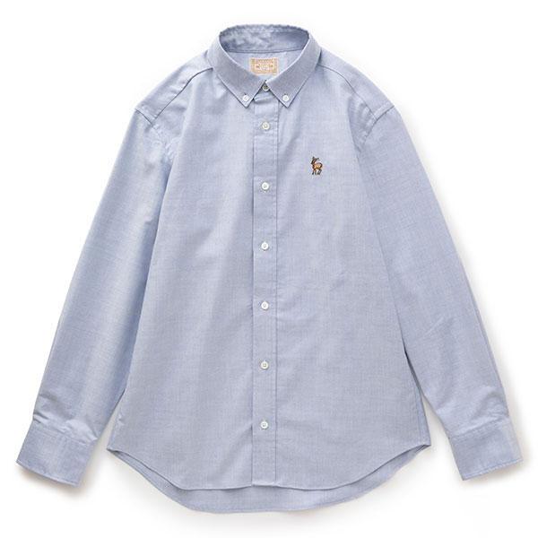 鹿の刺繍シャツ メンズ