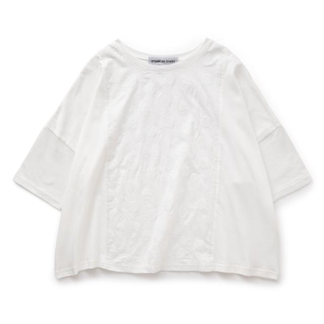 中川政七商店別注 STAMP AND DIARY ビッグTシャツ前身頃刺繍 candy