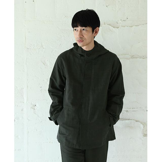 麻ナイロンのフードジャケット