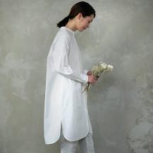 オーガニック綿のチュニックシャツ 縞 白