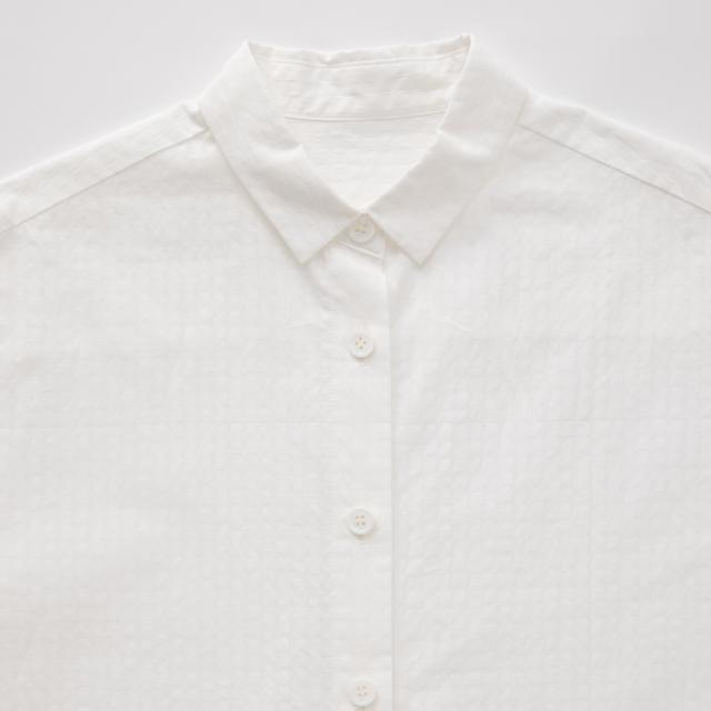 オーガニック綿のチュニックシャツ格子 白