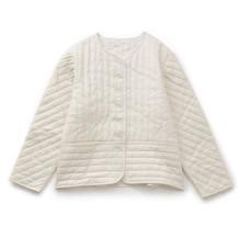 シルク麻のキルトジャケット 白
