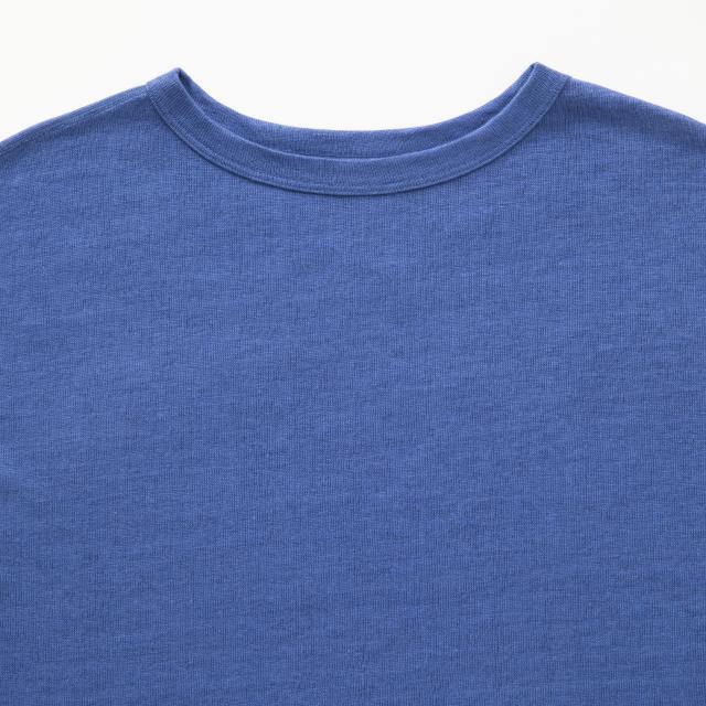 厚手麻ニットのプルオーバーフレンチ袖
