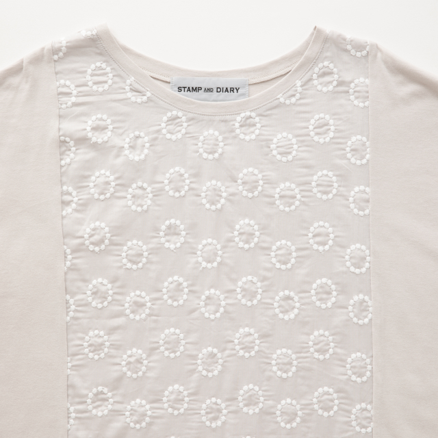 STAMP AND DIARY 前身頃刺繍ビッグTシャツ ヴォイクッカ