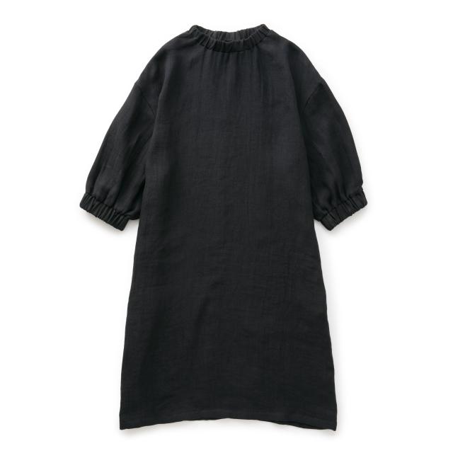 麻ガーゼのワンピース紺
