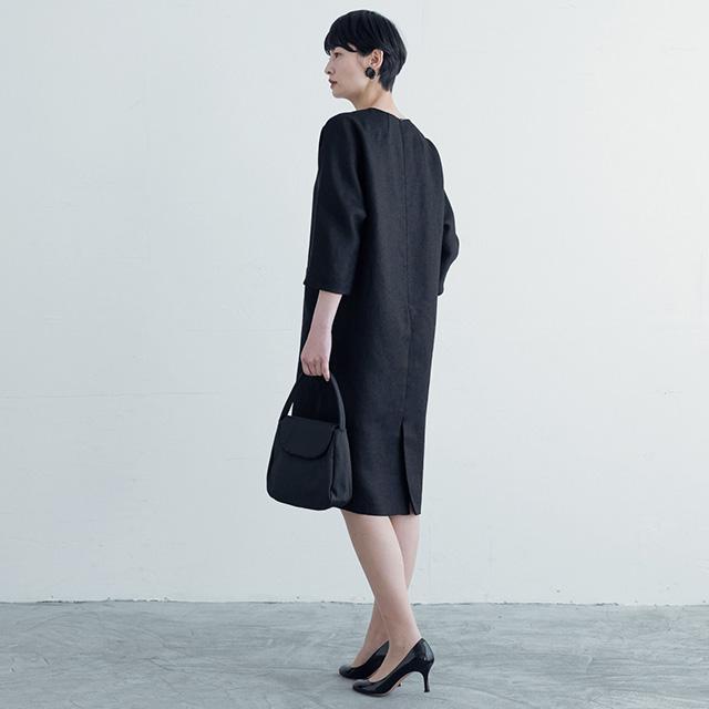 麻の変わり織 サックドレス