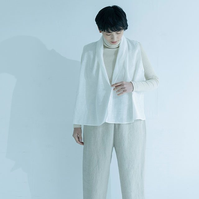 麻絹オーガンジー 羽織りブラウス 白