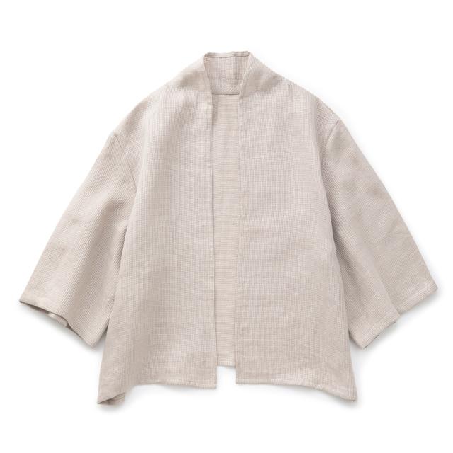 麻ワッフル織の羽織りシャツ生成