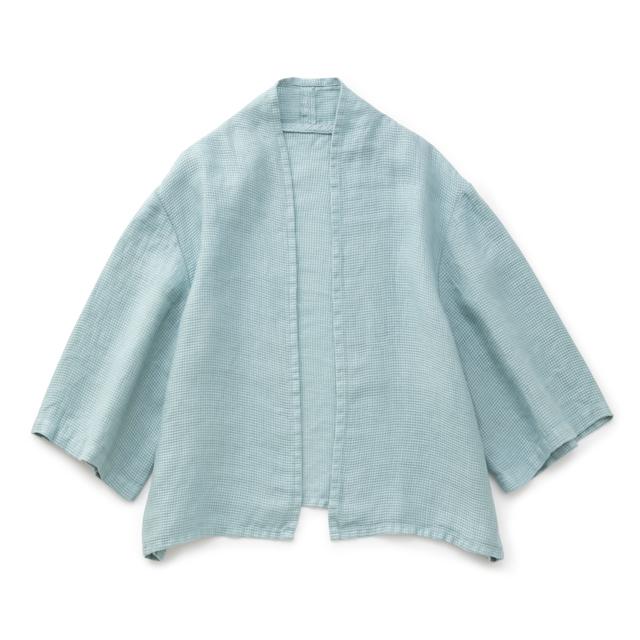 麻ワッフル織の羽織りシャツ青磁