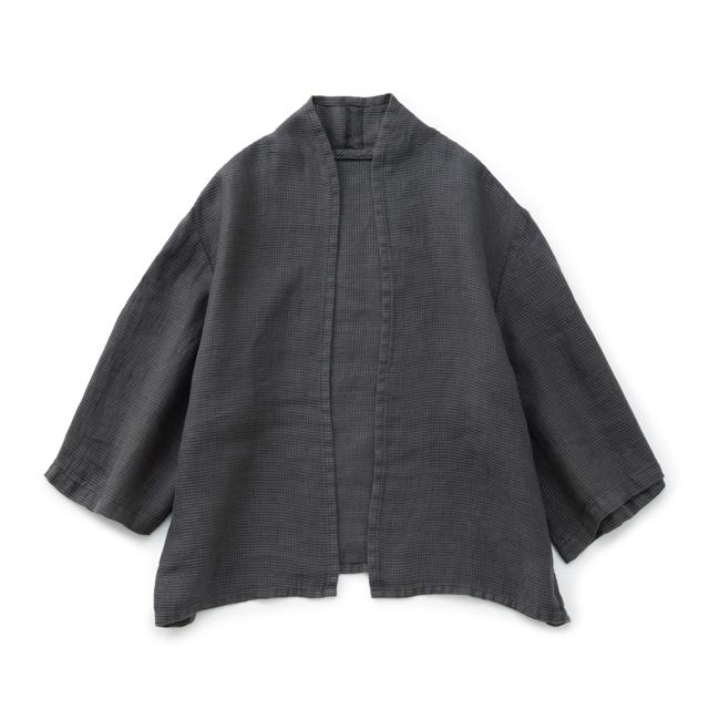 麻ワッフル織の羽織りシャツ墨