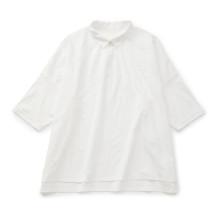 【WEB限定】STAMP AND DIARY シャツカラー7分袖ワイドプルオーバー アナベル・シロ