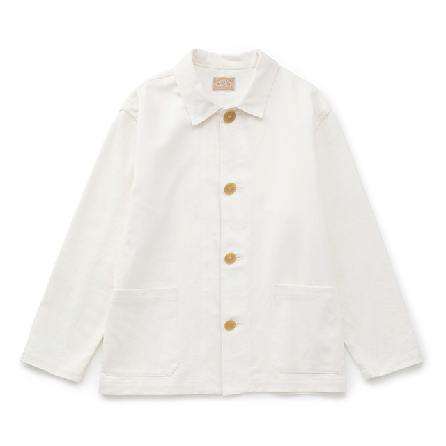 綿麻ドリルのワークジャケットオフ白