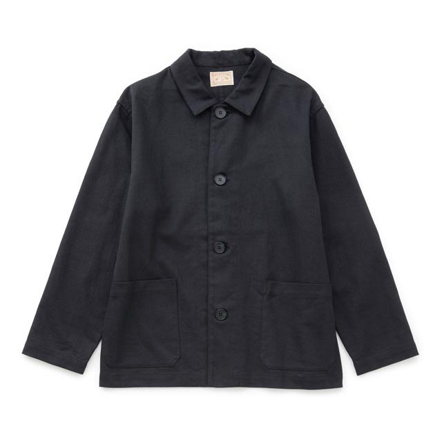 綿麻ドリルのワークジャケット濃紺