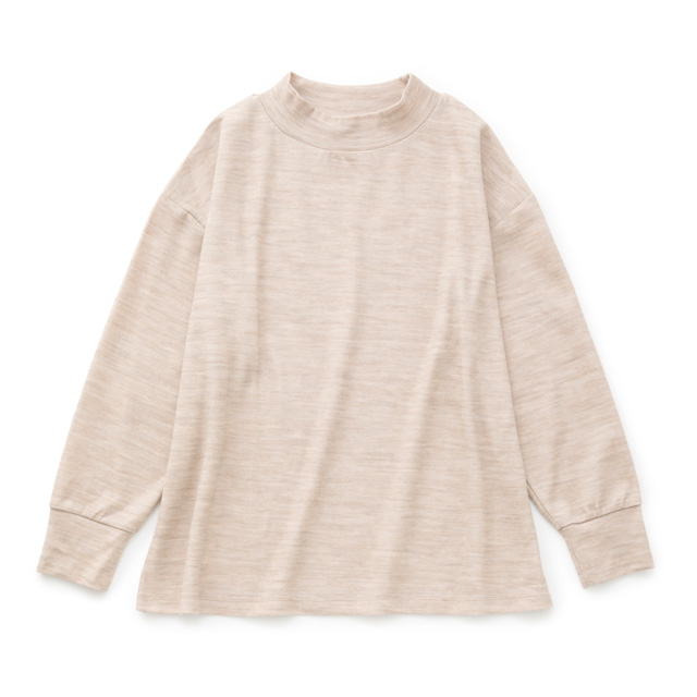 綿ウール接結のプルオーバーベージュ