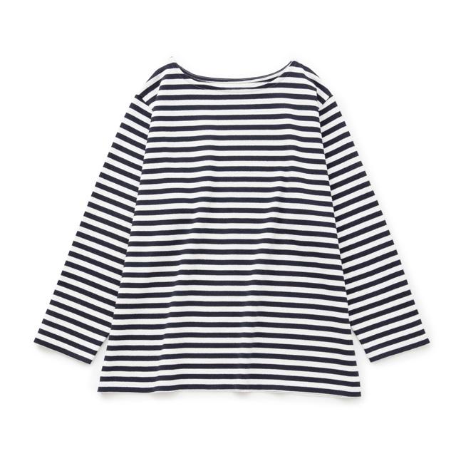 空紡糸のワイドバスクシャツ紺