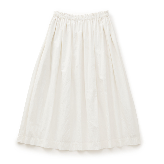 ヘンプコットンのギャザースカート 白