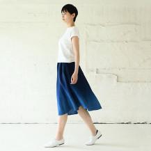 本藍染ロングスカート 紺/藍