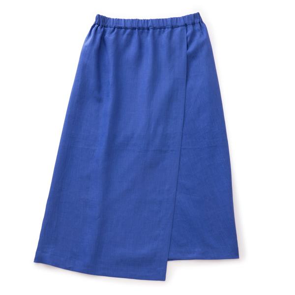 麻のサマースカート青