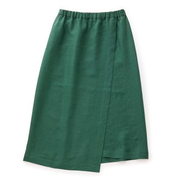 麻のサマースカート緑