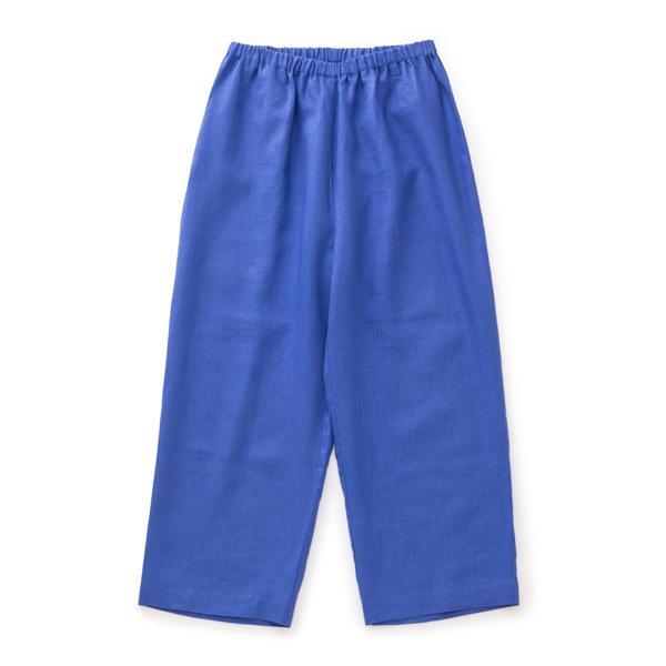 麻のサマーパンツ青