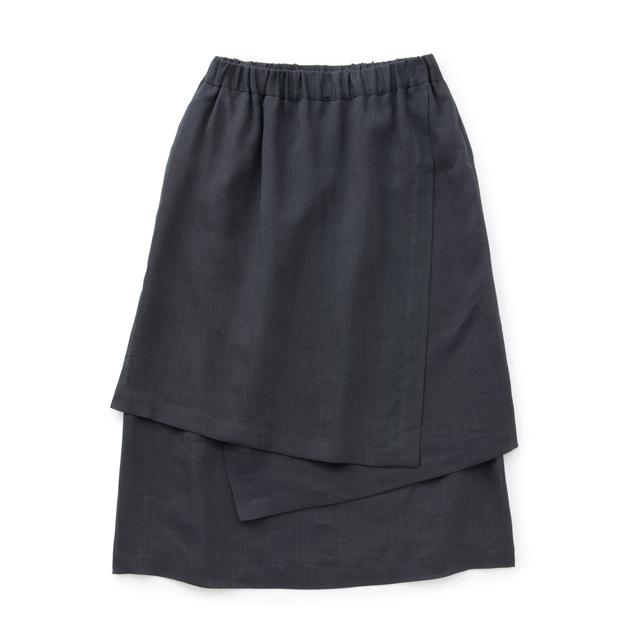 麻の紙布 かさねスカート墨