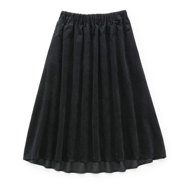 綿麻コーデュロイ フレアスカート濃紺