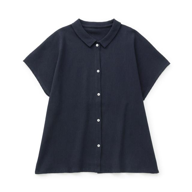 高島ちぢみのフリーシャツ薄墨