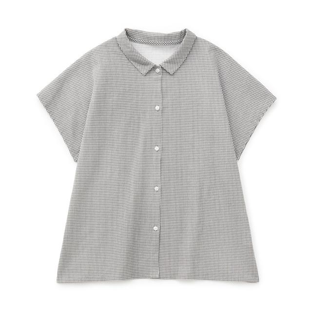 高島ちぢみのフリーシャツ墨