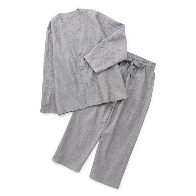 麻と綿の縦皺パジャマ