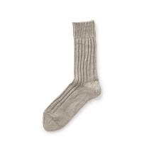麻のリブ編み靴下