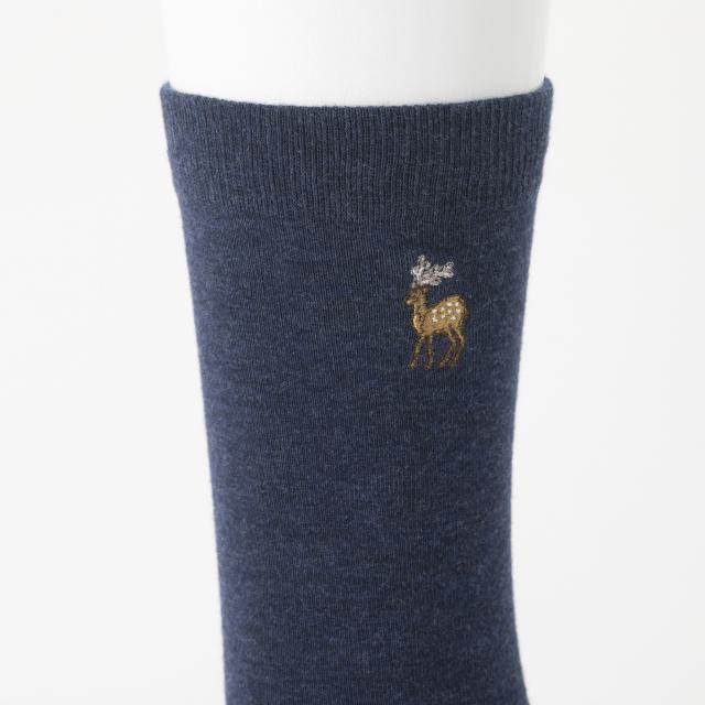 鹿の刺繍くつした メンズ