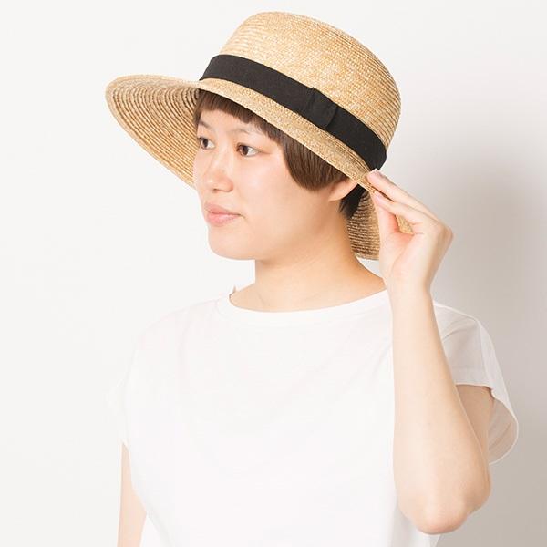 リネンリボンの麦藁帽子