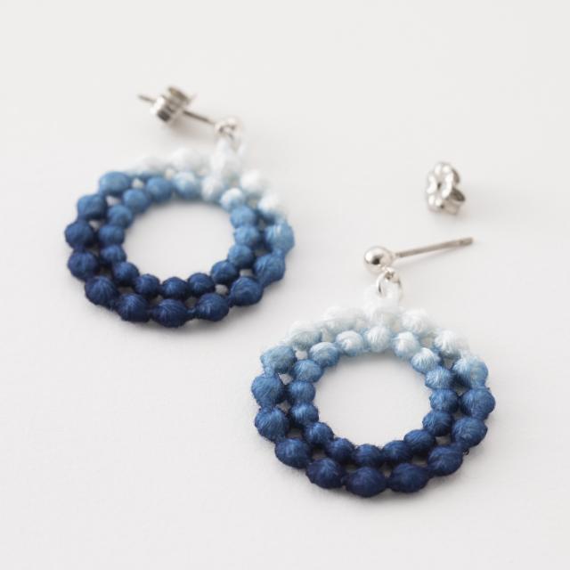本藍染刺繍ピアス