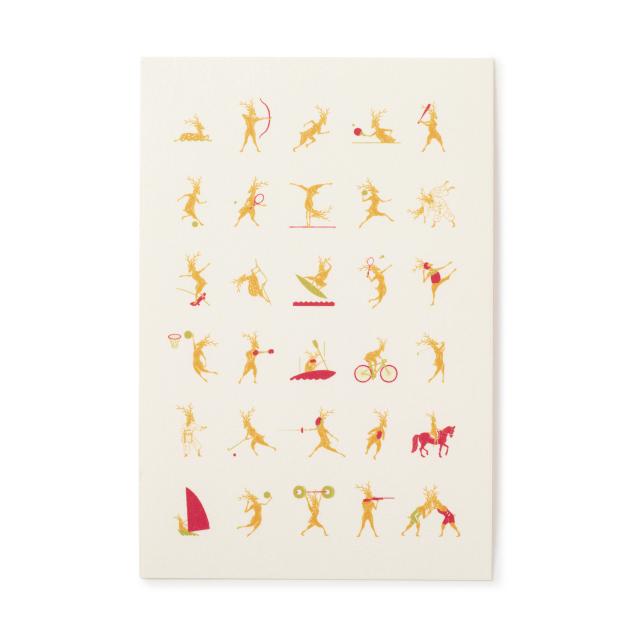 鹿競技之図越前和紙のポストカード