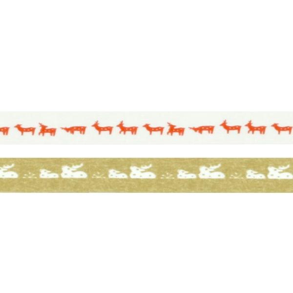 マスキングテープ 鹿 赤金